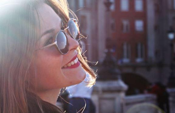 woman sunglass smile nice hair